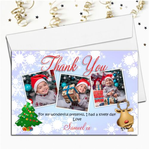 10 Personalised Christmas Xmas Thank you PHOTO Cards N32